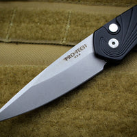 Protech Newport Out The Side OTS Auto Black Handle with 3D Wave pattern MOP Button Stonewash Blade 3436