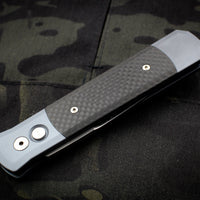 Protech Godfather Grey Out The Side (OTS) Knife Carbon Fiber Inlay and Satin Blade 900 CF