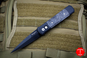 Protech Godfather Black Out The Side (OTS) Knife Marbled Carbon Fiber Inlay and Black Blade 905-M
