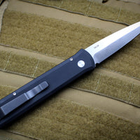 Protech Godfather Black Out The Side (OTS) Knife and Satin Blade 921-SATIN