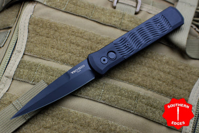 Protech Godfather Black W/ Textured Black G-10 Inlay Out The Side (OTS) Knife Black Blade 928-BT