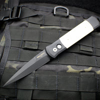 Protech Godfather Black And Ivory Micarta Tuxedo Out The Side (OTS) Knife DLC Black Blade 952