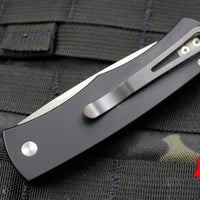 "Protech Magic ""Whiskers"" Tuxedo Black W/ White Micarta Inlay Out The Side (OTS) Auto Hidden Bolster Release Knife Black Blade BR-1.51"