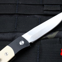 "Protech Small Brend ""Tuxedo"" Black Body Satin Blade White Micarta Inlay Out The Side (OTS) Auto Knife 1251"
