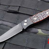 Protech Small Brend Black Body Satin Blade Amber Jigged Bone Inlay Out The Side (OTS) Auto Knife 1262