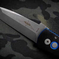 Protech Emerson E7T34 Tanto Out The Side Auto (OTS) Black & Blue G-10 Top Handle Acid Washed Blade E7T34