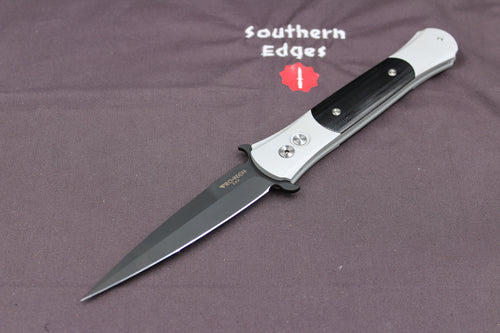 Protech Large Don Silver Handle DLC Black Blade