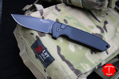 Protech Les George Rockeye Out The Side (OTS) Black with Black Blade LG201