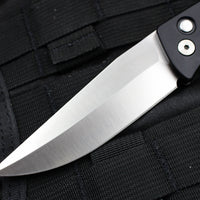 Protech Medium Brend Black Body Carbon Fiber Inlay Satin Blade Out The Side (OTS) Auto Knife 1304
