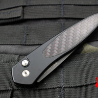 Protech Newport Black with Carbon Fiber Red Weave Inlay Black Blade 3416-RED
