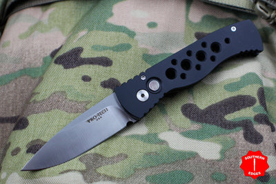 Protech Tactical Response 2 20th Anniversary Skeletonized Black Body Satin Blade Out The Side (OTS) Auto Knife PT20-002