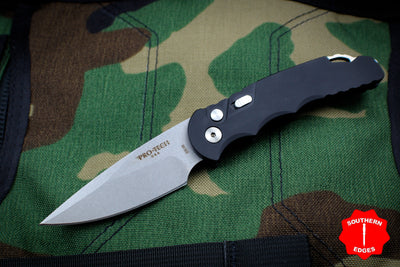 Protech Tactical Response 5 OTS Auto Black Handle Stonewash Plain Blade T501
