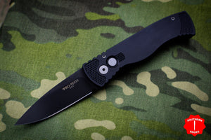 Protech Tactical Response 2 Black Body Black Blade Out The Side (OTS) Auto Knife TR-2.3