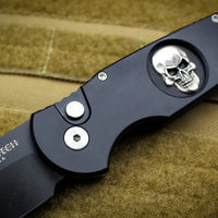 Protech TR-3.72 Black Tactical Response 3 Out The Side (OTS) Auto Knife Black Handle Shaw Silver Skull Inlay MOP DLC Black Blade