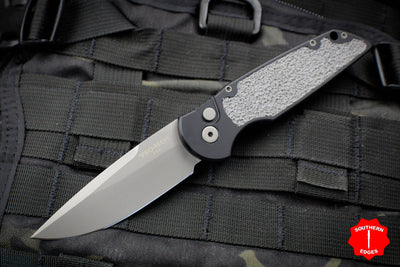 Protech TR-3 R1 Black Tactical Response 3 Out The Side (OTS) Auto Knife Black Handle Grey Rubber Inlay TR-3 R1