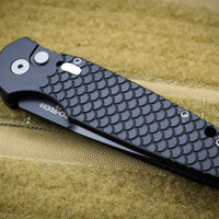 Protech TR-3 Tactical Response 3 Out The Side (OTS) Auto Knife Black Fish Scale Handle Black Plain Edge TR-3 X1 M