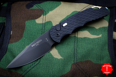 Protech Tactical Response 4 Black Handle Feather Texture Stonewash Plain Edge Auto Knife TR-4.F5