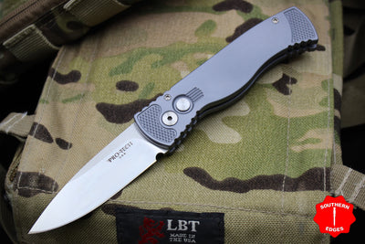 Protech Tactical Response 2 Grey Body Satin Blade Out The Side (OTS) Auto Knife TR 2.5 Satin