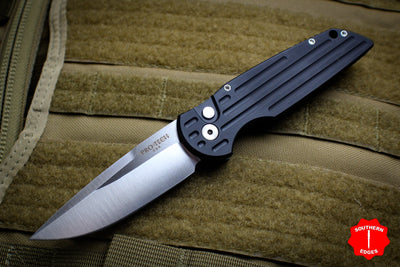 Protech TR-3 TD Black Tactical Response 3 Out The Side (OTS) Auto Knife Black Grooved Handle Pearl Button Satin Plain Edge TR-3 LTD