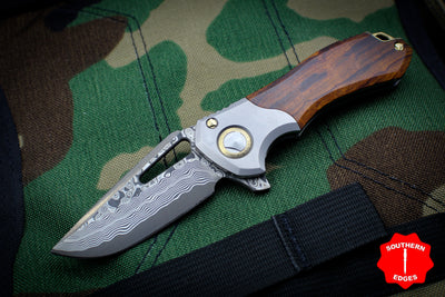 Marfione Custom Protocol Folder Flipper Ironwood/Vapor Blasted Bolster Ti Bronze Hardware