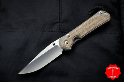 Chris Reeve Large Sebenza 31 Natural Micarta Inlay Drop Point Blade L31-1212