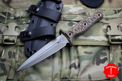 RMJ Raider Dagger Fixed Blade Combat Knife - Hyena Brown