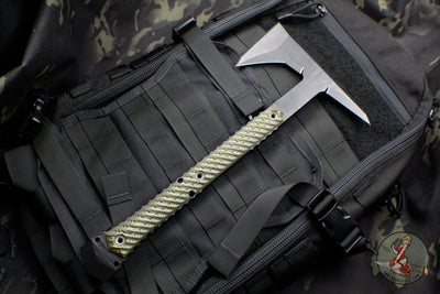 RMJ Tactical Ragnarok 14 Tomahawk Black Textured with Dirty Olive G-10 Handle 14