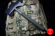 "RMJ Shrike S13 Tomahawk 13.875"" Model Dirty Olive Green Handle with Spike End"