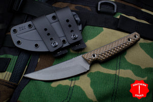 RMJ Unmei Fixed Blade Knife Hyena Brown Textured G-10 Handle