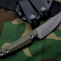 RMJ Unmei Fixed Blade Knife Dirty Olive Green Textured G-10 Handle