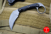 RMJ Korbin Karambit Fixed Blade EDC Knife Black G-10 Handle