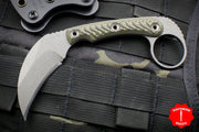 RMJ Korbin Karambit Fixed Blade EDC Knife Dirty Olive G-10 Handle