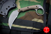 RMJ Korbin Karambit Fixed Blade EDC Knife Hyena Brown G-10 Handle