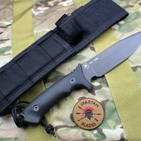Spartan Harsey Difensa Fixed Blade Black with Black Handle and Black Molle Sheath