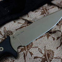 Spartan Harsey Difensa Fixed Blade FDE with Black Handle and Black Molle Sheath