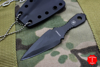 Spartan Blades Velos Fixed Blade Neck Knife Black Blade with Black Sheath