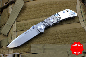 Spartan Blades Harsey Folder Special 2018 Spartan Shield Graphic Stonewashed Blade