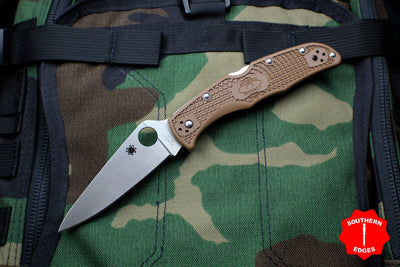 Spyderco Endura Brown Handle Satin Flat Ground Lockback Knife C10FPBN