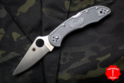 Spyderco Delica Gray Handle VG-10 Satin Flat Ground Lockback Knife C11FPGY