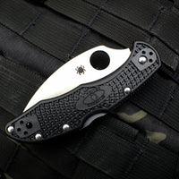 Spyderco Delica Folding Knife Wharncliffe Satin Blade Black FRN Handle C11FPWCBK