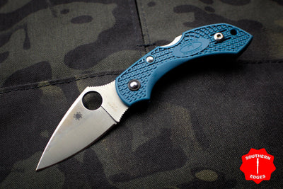 Spyderco Dragonfly Compact Folding Knife Sprint Run Blue FRN Handles K390 Steel Blade C28FP2K390