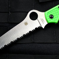 Spyderco Atlantic Salt Green Handle Full Serrated LC200N Satin Flat Ground Lockback Knife C89FSGR