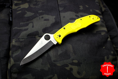 Spyderco Pacific Salt 2 Yellow Handle Satin H1 Hollow Ground Lockback Knife C91PYL2