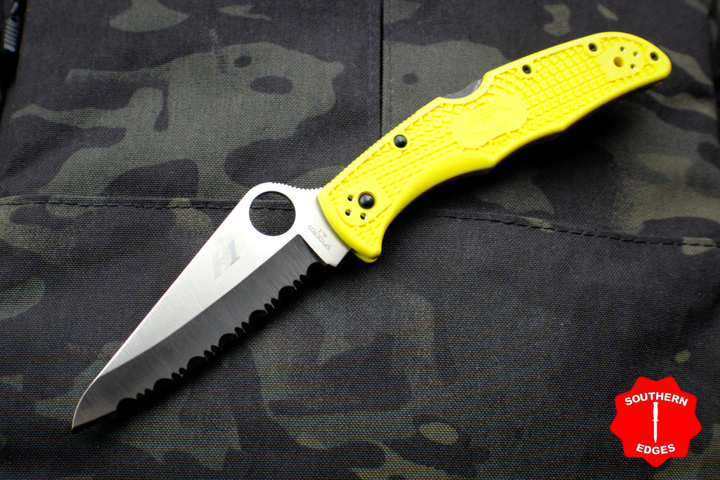 Spyderco Pacific Salt 2 Yellow Handle Part Serrated Satin H1 Hollow Ground Lockback Knife C91SYL2