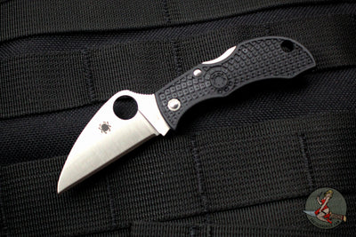 Spyderco Manbug Black Handle Satin Wharncliffe Lockback Knife MBKWP