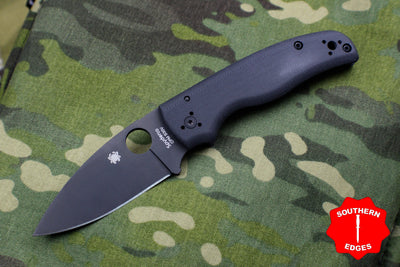 Spyderco Shaman Black G-10 Handle Black Drop Point Compression Lock Knife C229GPBK