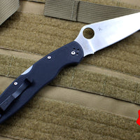 Spyderco Police Folding Knife Black Handle Spear Point Satin Blade C07GP4