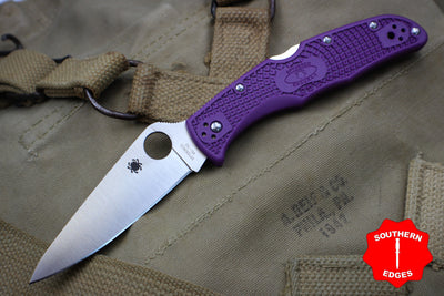 Spyderco Endura Purple Handle Satin Flat Ground Lockback Knife C10FPPR