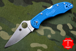 Spyderco Delica Blue Handle VG-10 Satin Flat Ground Lockback Knife C11FPBL