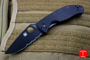 Spyderco Tenacious Drop Point Folding Knife Black Part Serrated Blade Black G-10 Handle C122GBBKPS